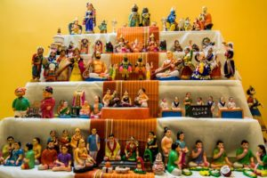 Heritage dolls arranged as part of Navratri